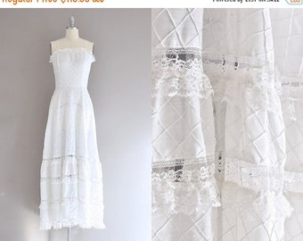 50% OFF SALE vintage 1970s bohemian wedding dress • lace dress • 70s bohemian dress • vintage wedding dress