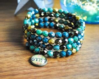 SALE Gypsy - Wire Wrapped Czech Glass Beaded Bracelet - Rustic Cowgirl Bracelet, Travel, Wanderlust, Teal Bracelet