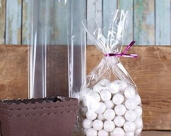 Small Narrow Cellophane Bags, Mini Loaf Pan Bags, Candy Buffet Bags, Clear Candy Bags, Clear Treat Bags, Wedding Favor Bags, Treat Bags (50)