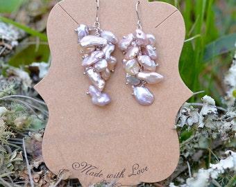 Keishi pearl cluster dangle earrings sterling silver
