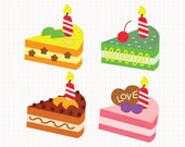 I Love Cakes Digital CLIP ARTS personal and commercial use for invitations, cupcake toppers, birthday cards, party supplies
