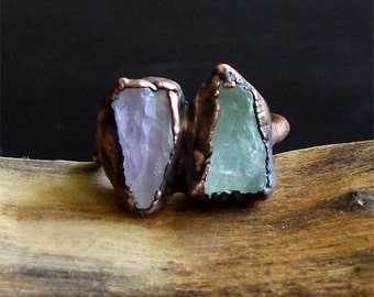 Raw Amethyst Aquamarine Copper Dual Stone Raw Crystal Ring Copper Size 8 February March Gemstone Birthstone Rough Stone Jewelry