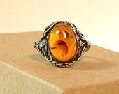 1970's Vintage Semi-precious Amber Stone with Sterling Silver filigree  RING Size 8.5