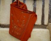 """Orange Pashmina shawl/stole with Ari stitch. 84 x 40""""  Kashmir.  Pure pashmina wool."""