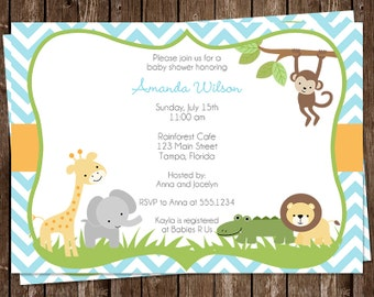 Jungle Animals, Baby Shower Invitations, Boys, Safari, Elephant, Giraffe, Monkey, Lion, 10 Printed Invites, Custom, Wild With Excitement