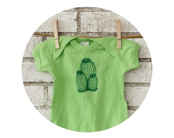 Cactus Baby Onepiece, Cotton Infant Bodysuit, Key Lime Green, Desert Flower, Southwestern Nature, New Mexico, Arizona,  Cacti Prickly Pear