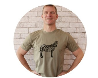 Men's Zebra Tshirt, Short Sleeved Light Olive Cotton Crewneck Graphic Tee Shirt, Zoo or Safari Animal, Clothing for Men, Hand Screenprinted