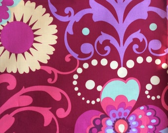 Amy Butler Paradise Garden, wine, Love collection, remnant, floral fabric burgundy one yard