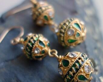 Emerald Enamel Gold Tone Crystal Earrings
