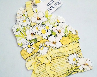 Retro Daisy Tags - Set Of 3 - Basket Of Daisies - Gift Tags - Vintage Flower Tag s - Yellow And White - Just For You - Mid Century Tags