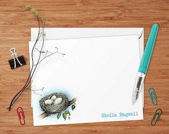 Little Bird Nest - Set of 8 CUSTOM Personalized Flat Note Cards/ Stationery