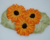 Reserved for Linda - Triple Yellow Ombre Zinnia Flower Applique