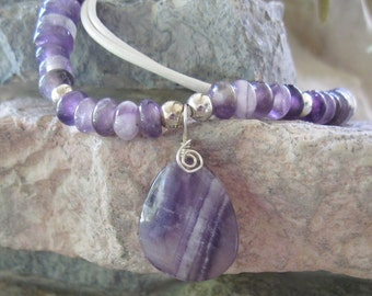 Beaded Amethyst Necklace Purple Gemstone White Leather Necklace Women