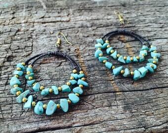 Turquoise Stones Brass Earrings