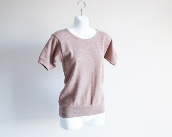 Heathered Wool Short Sleeved Sweater - Sz S