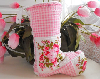 PINK COTTAGE CHRISTMAS Stocking Vintage Quilt Piece Pink Roses And Vintage Chenille