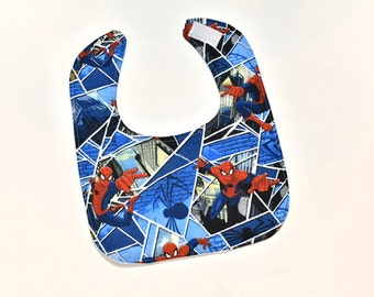 Baby Boy Bib Spiderman Super Hero Fabric, Gender Neutral Infant Feeding Drool Bib, New Mom Shower Gift, Made From Marvel Fabric