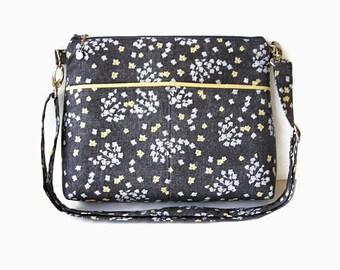 Gray Fabric Zippered Crossbody Bag - Gray Messenger Purse - Fabric Cross Body Purse - Outside Pockets - Zipper Closure Shoulder Handbag