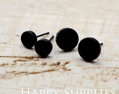 Nickel Free - High Quality Round Circle Dual-used Black Earring Post Finding with Ear Stud Stopper (SS004)