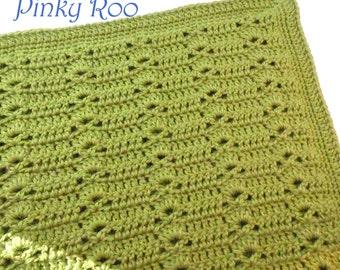 Bamboo blend Crochet baby blanket in green color, Stroller Size / unisex baby blanket