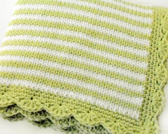 Knitted Baby Blanket in thin stripes of lime green and white with scalloped border / unisex baby blanket / liem green color nursery