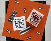 Dog Stamp - English Bulldog Hand Carved Rubber Stamp - Gift Dog Lover - Puppy Stamper - Pet Present - British Dog - Scrapbooking