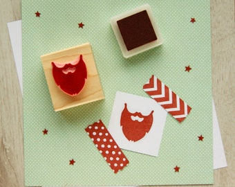 Beard Stamp - Handsome Beard Hand Carved Rubber Stamp by Skull and Cross Buns