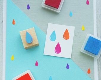 Raindrop Hand Carved Rubber Stamp -  Weather Rubber Stamp - Water Stamper - Rain Drop -  Storm Cloud - Gift for Cloud Lover - Sky - Cloudy