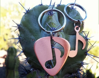 couples keyring copper - guitar pick keyring and copper music note - his and hers keyring