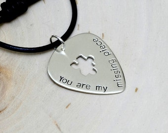 Silver Guitar Pick Necklace with Puzzle Piece Cut Out and You are my Missing Piece - NL122