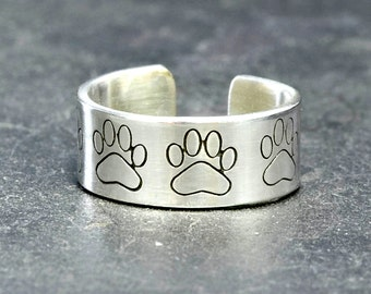 Sterling Silver Toe Ring with Paw Print Design Handstamped and Adjustable