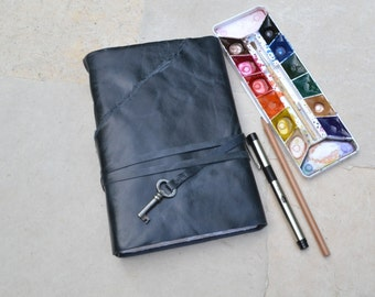 Black Leather Key Journal with Mixed Media Paper