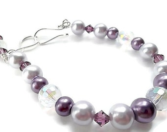 Wedding/ Pearl Bridal Bracelet/Bridal Jewelry/Purple and Lilac Pearls/Crystals/Sterling Silver/Bridesmaid Bracelet