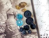 Antique Victorian BUTTON Lot Black Blue Amber Glass