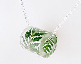 Resin Tube Necklace with Fern.  Resin Jewelry with Real Pressed Flowers - Resin Jewelry.  Handmade Jewelry.