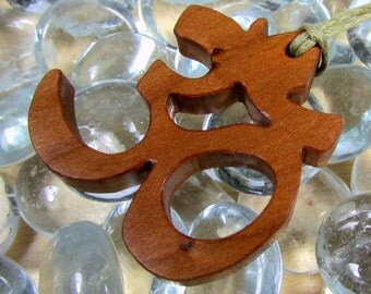 Yoga  / Om or Aum Symbol / Pendant  / Charm / Cherry Wood
