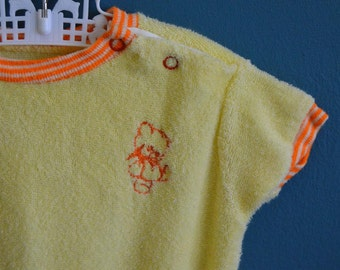 Vintage Baby's Yellow Terry Cloth Onesie with Teddy Bear Applique - Size 6-9 Months