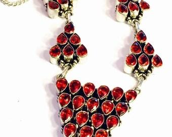 Valentines Lovers SALE Beautiful Garnet Open back Sterling Silver Geometric Vintage Necklace