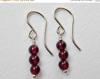 Little Garnet Earrings - Sterling Silver Dangle Earrings Beaded Earrings Drop Earrings Beadwork Earrings Three Stone Earrings