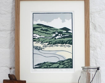 Hand Printed The Walk to Church Bay Linocut Print