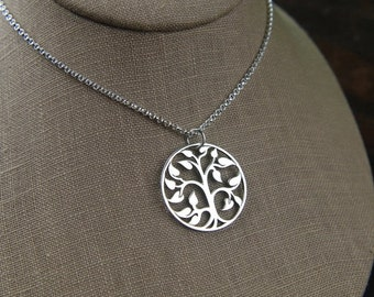 SALE Large sterling silver tree of life pendant and sterling silver necklace, tree necklace, family tree, large pendant, woodland, nature je