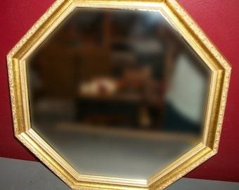 Vintage Gold Wood Mirror Octagon