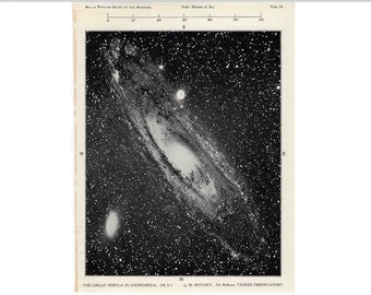 1955 ANDROMEDA NEBULA LITHOGRAPH - original vintage print - celestial astronomy cosmology art - with orion galaxy on the reverse side