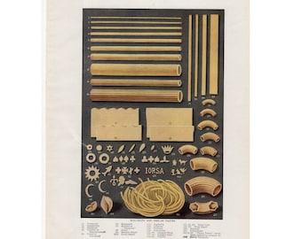 1911 PASTA MACARONI SPAGHETTI lithograph original antique cooking italian food print - spaghetti semolina