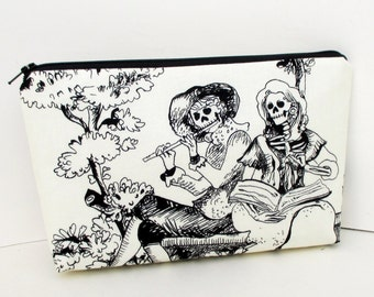 Make Up Zipper Pouch, The Romantics, Day of the Dead Skeleton Couple, Skull Cosmetic Bag
