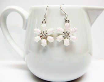 White Snowflake Earrings - Pink and White Snowflake Earrings - Small Snowflake Earrings - Holiday Earrings - Christmas Jewelry - Gift Idea