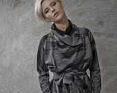Winter Sale 15% Off!!! Japanese inspirited dark grey with black print multiway to wear top with camel leather pin