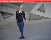 Winter Sale 15% Off!!! BLUE Light stone washed denim cotton baggy pants with tying