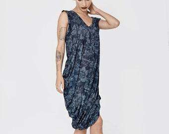 SALE 40% floral summer dresses for women - blue sundress - blue summer dress - loose tank tops - womens tunic dress - t shirt dress - Tank