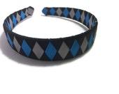 "Black, Blue, Silver 1"" Woven Headband - Handmade Ribbon Braided Headband - Made To Order - Silver, Blue, Black Headband"